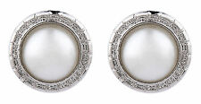 CLIP ON EARRINGS - silver plated earring with a central round pearl - Wonda