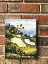 "OIL Painting-Golf Sand  Traps by the Sea-Pebble Beach??? 8""x 10"""