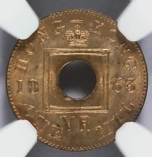 1863 Hong Kong 1 Mil Bronze Coin - Graded NGC MS 65 RB - KM# 1 - RARE