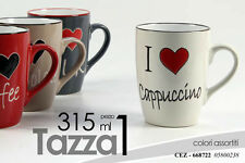 SET 6 PZ TAZZA PER LATTE COLAZIONE PORCELLANA I LOVE 315ML ASSORTITA TAZ 668722