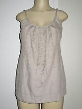 Eileen Fisher 100% Organic Linen Tank Cami with Embroidered sequin Detail sz S