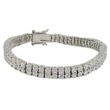 Sterling Silver White CZs Two Row Tennis Bracelet 7""