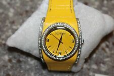 NICE Joan Rivers Yellow Leather Strap Design Watch Rhinestone F79-C