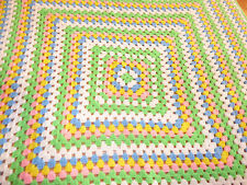 HANDMADE 50 inch SQUARE CROCHETED GREEN WHITE PINK BLUE AFGHAN LAP ROBE  NEW