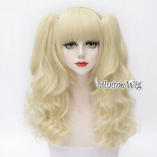 Lolita 30CM Short Light Blonde Anime Cosplay Wig With Two Long Curly Ponytails