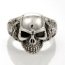 SKULL WITH KNIGHT ARMOR STERLING SILVER 925 RING - SIZE 13