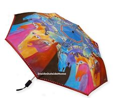Laurel Burch Compact Umbrella Horses of Fire Auto Open Close Lg Canopy NEW 2017