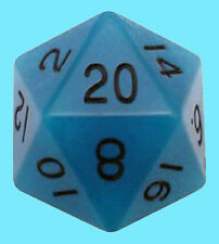 MDG 35MM MEGA ACRYLIC GLOW in DARK - BLUE w/ BLACK DIE D20 Countdown Dice RPG