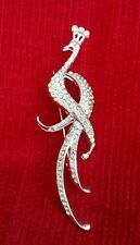 Stunning Diamonte Silver Plated Peacock Bird Brooch Broach Cake Pin for Suits