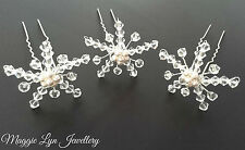 Snowflake Hair Accessories, Swarovski crystals. Winter wedding / prom / party