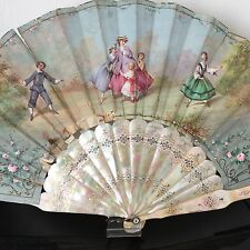 EVENTAIL Ancien Peint 1860 Nacre Colin Maillard ANTIQUE FRENCH MOP FAN ABANICO
