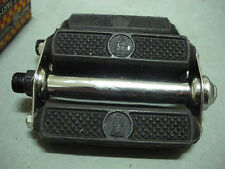 "Vintage Raleigh Bike Bicycle Pedals with logo  4"" - 9/16"" Axle NOS 1950s"