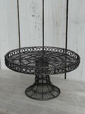 Primitive vintage woven wire pedestal cake stand pastry display home decor