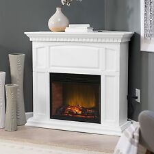 White Electric Fireplace LED Wood Heater Mantel Corner Stand Convertible Remote
