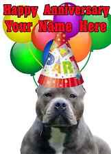 American Pit Bull Terrier Happy Anniversary Party Hat Code apb Personalised card