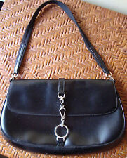 AUTH PRADA BLACK CALF LEATHER Medium SEMITRACOLLA SHOULDER BAG