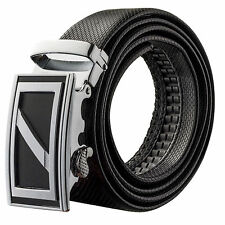 Veronz Men's Wide Black Leather Slide Belt Ratchet Belt Buckle 98B16 - 54""