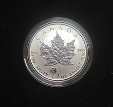 2016 1 oz .999 Fine Silver Canadian Maple Leaf Reverse Proof Coin Yin Yang Privy