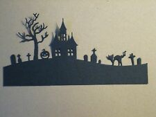 6 Halloween Hill Die Cuts: Black Haunted House Stamping supplies Handmade card
