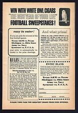 1962 WHITE OWL CIGAR AD~NCAA COLLEGE FOOTBALL SWEEPSTAKES PICK GAMES~NEW YORK