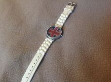 Quartz Wrist Watch With Britain Flag On Dial Analog White Rubber Band