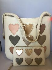 """Brighton """"Holly"""" Off White Leather Heart Shoulder Bag W/ Matching Wallet"""
