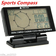 Car Electronic Digital Compass Clock Thermometer In/Out Travel Guiding Calenda