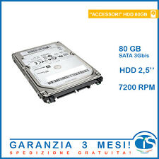 "HDD 80GB 7200RPM ECONOMICO SATA 3Gb 2.5"" RICONDIZIONATO NOTEBOOK PORTATILE PC"