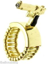 Hip Hop Urban Gold  Gun / Pistol & Crystal Bling Stretch Ring
