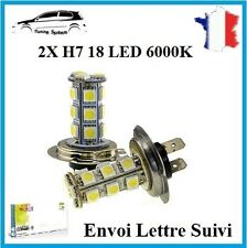 2x Ampoule H7 18 LED 3528 SMD BLANC 6000K Xenon Lampe Feux Phare Tuning