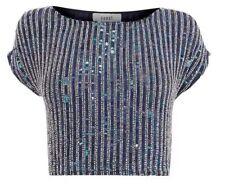 Bnwt 🌹 coast 🌹 uk taille 10 bleu marine bella marie ornée de perles et sequins fête top nouveau