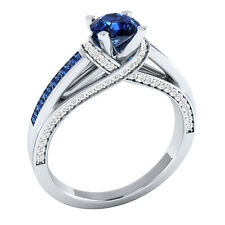 14K White Gold 1.33 ct Certified Natural Diamond & Blue Sapphire Engagement Ring