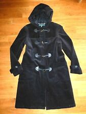 RALPH LAUREN Black HOODED INSULATED CORDUROY DUFFLE TOGGLE COAT M L 10-12 Pockts