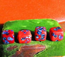 Venetian Millefiori red blue cube shaped  lot of 4 glass beads for crafts vi