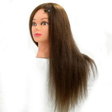 "22"" 100% Long Hairdressing Cut Mannequin Real Human Long Hair Training Head Doll"