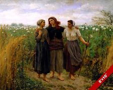 BEAUTIFUL YOUNG WOMEN FRIENDS RETURNING FROM FARM WORK PAINTING ART CANVAS PRINT