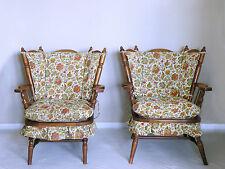 vtg 60s TELL CITY colonial andover MCM rocking high back HIS & HERS arm chairs