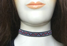 "A 12mm ZIG ZAG PATTERN Jacquard Ribbon Cord 13"" Choker Necklace Aztec Geometric"
