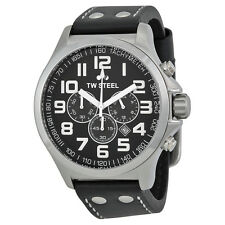 TW Steel Pilot Chronograph Black Leather Mens Watch TW412