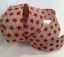 38mm WIDE WIRED CHRISTMAS RED STAR BURLAP HESSIAN RIBBON 10m FULL ROLL