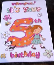 Girl's 5th Birthday card by Eclipse cards. 25 available - Multi Listing
