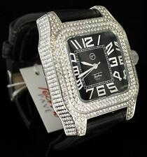 360 Icy Royal Black Band Techno Pave Hip Hop CZ Silver Finish Mens Bling Watch