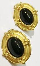 boucles d'oreilles clips déco ovale cabochon noir bijou vintage couleur or *5149