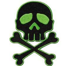 Kreepsville 666 Skull N Crossbones Green Black Patch