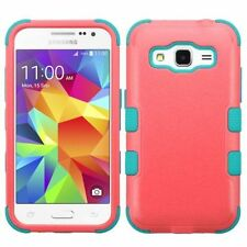 For Samsung Galaxy Core Prime Pink Teal Tuff Hard Silicone Hybrid Case Cover