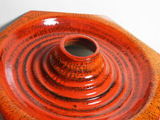 West german red fat lava glaze pottery wall ceiling lamp light vintage retro 70s