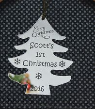 Personalised  Babies 1st/First Christmas Tree Decoration Gift SILVER MIRROR