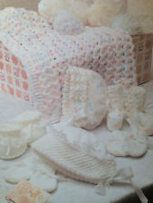 baby blanket bonnets mittens and bootees dk knitting pattern 99p
