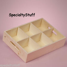 NEW 6 SECTION WOOD TRAY BOX WITH HANDLES UNFINISHED PINE WOOD REMOVABLE CENTER
