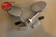 "Vintage Car Truck Custom 4"" Peep Mirrors Straight Arm Pair Chevy Ford Packard"